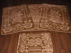ROMANY WASHABLES TRAVELLER MAT SET 4PC NON SLIP GYPSY ROSE SUPER THICK DK BEIGE